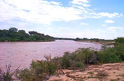The mighty Galana River in Tsavo East National Park, Kenya.
