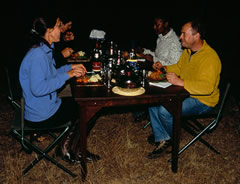 A camp dinner at El Karama.
